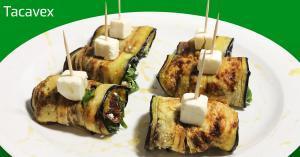 Rollitos de berenjena con queso y espinacas. Aperitivo o cena fácil.